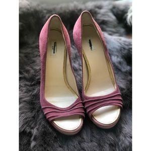 Pink Prada suede peep toe heels!